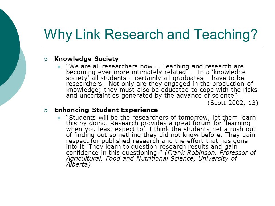 Why Link Research and Teaching.
