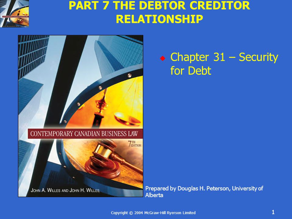 Copyright © 2004 McGraw-Hill Ryerson Limited 22 SECURED LOAN UNDER THE BANK ACT Registration gives bank priority against third parties and covers goods as-and-when acquired, born, dug, cut, caught, etc Notice of Intention borrower pledges certain assets, both present and future Must be registered by bank Property is assigned Remedies – broad powers can seize without following Seizures Act Note: PPSA not apply, priority determined by Bank Act