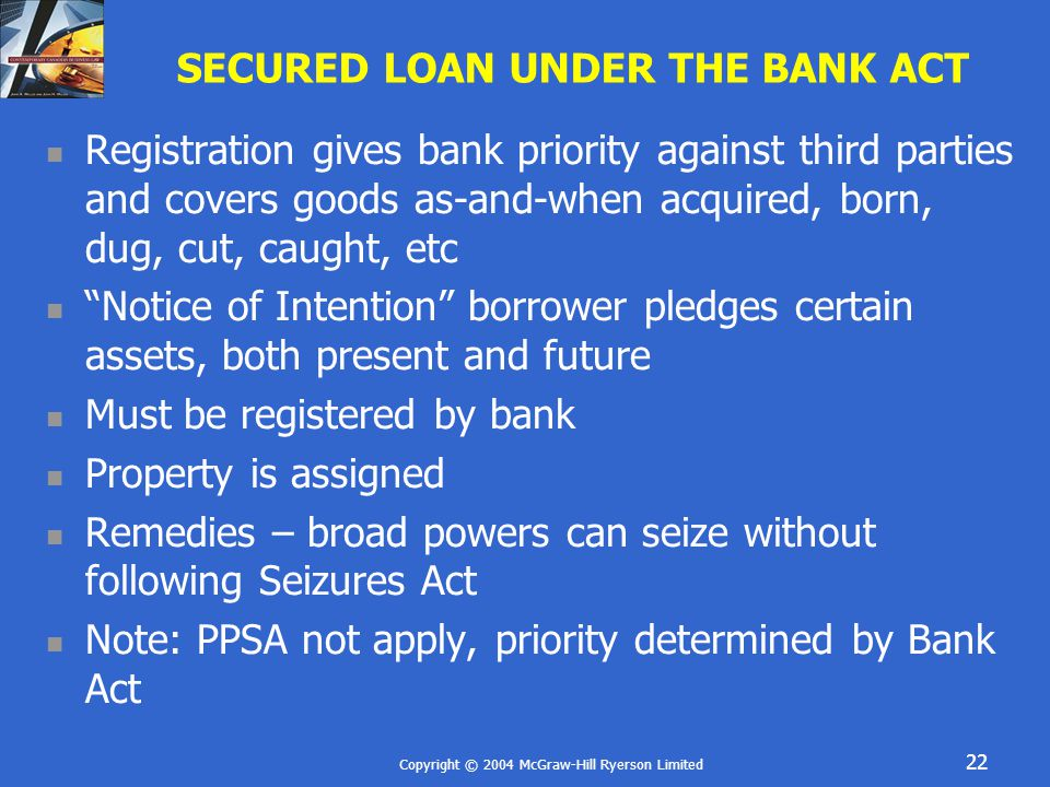 Copyright © 2004 McGraw-Hill Ryerson Limited 22 SECURED LOAN UNDER THE BANK ACT Registration gives bank priority against third parties and covers good