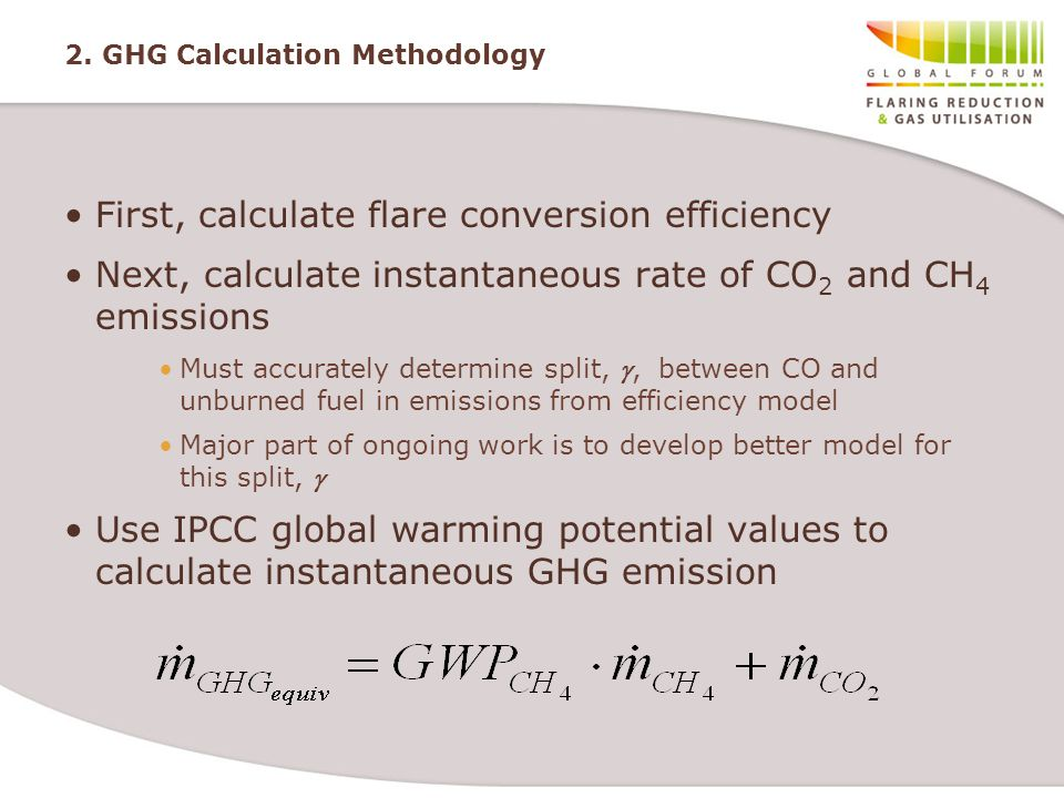 2. GHG Calculation Methodology First, calculate flare conversion efficiency Next, calculate instantaneous rate of CO 2 and CH 4 emissions Must accurat