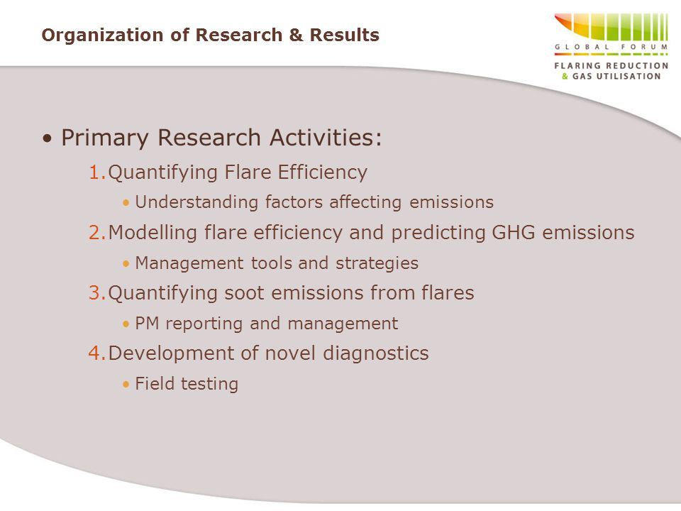 Organization of Research & Results Primary Research Activities: 1.Quantifying Flare Efficiency Understanding factors affecting emissions 2.Modelling f