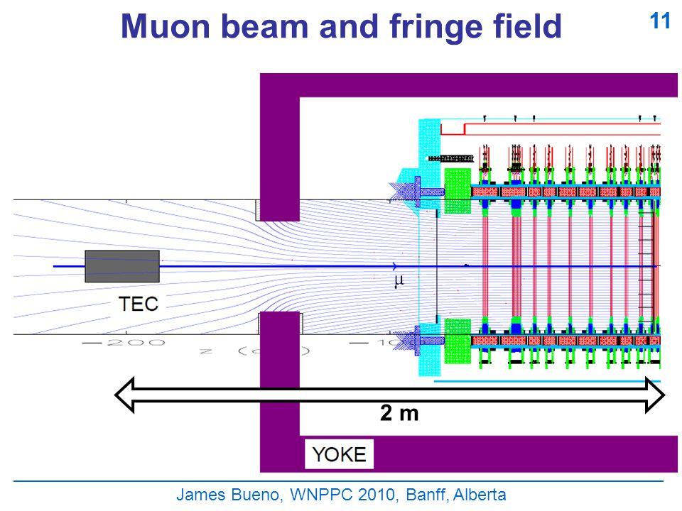 Muon beam and fringe field James Bueno, WNPPC 2010, Banff, Alberta 11 2 m