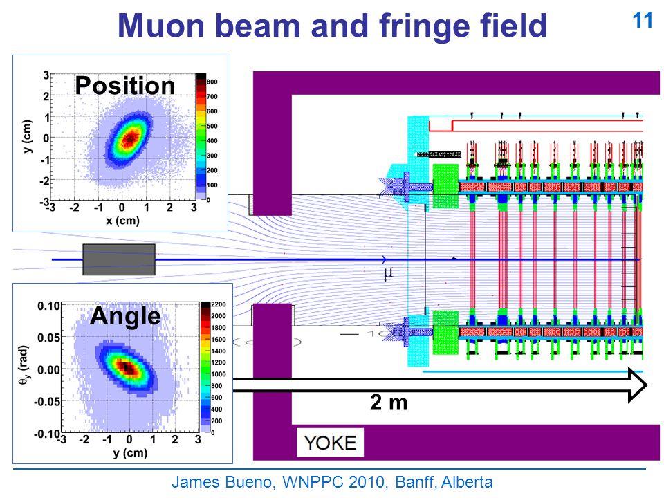 Muon beam and fringe field James Bueno, WNPPC 2010, Banff, Alberta 11 Position 2 m Angle