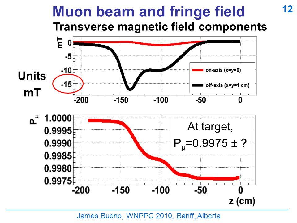 Muon beam and fringe field James Bueno, WNPPC 2010, Banff, Alberta 12 At target, P μ =0.9975 ± .