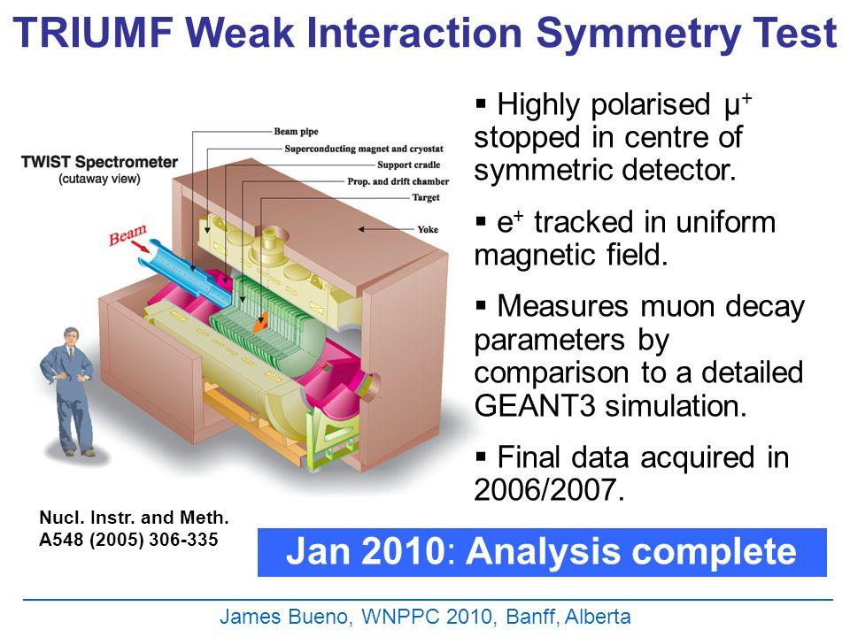 James Bueno, WNPPC 2010, Banff, Alberta TRIUMF Weak Interaction Symmetry Test  Highly polarised μ + stopped in centre of symmetric detector.