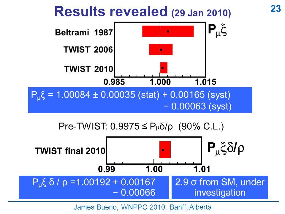 James Bueno, WNPPC 2010, Banff, Alberta Results revealed (29 Jan 2010) P μ ξ = 1.00084 ± 0.00035 (stat) + 0.00165 (syst) − 0.00063 (syst) P μ ξ δ / ρ =1.00192 + 0.00167 − 0.00066 Pre-TWIST: 0.9975 ≤ P μ δ/ρ (90% C.L.) 2.9 σ from SM, under investigation 23