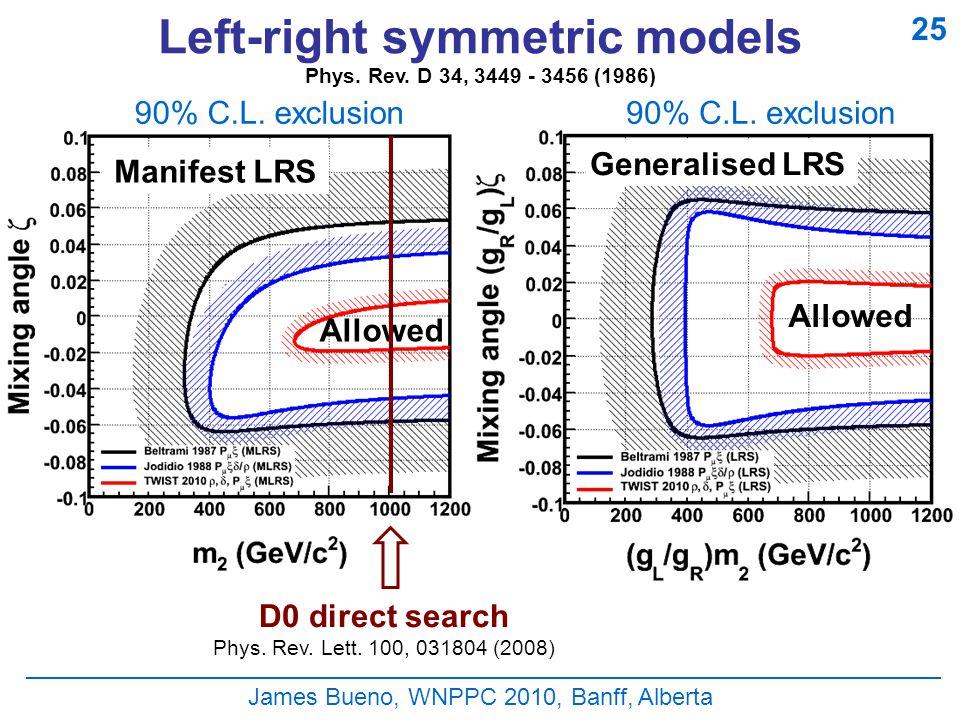 James Bueno, WNPPC 2010, Banff, Alberta Left-right symmetric models 90% C.L.