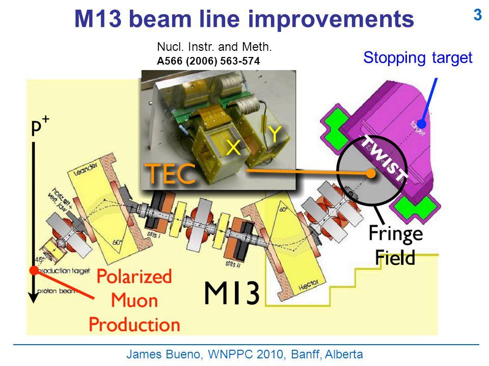 James Bueno, WNPPC 2010, Banff, Alberta M13 beam line improvements Stopping target Nucl.