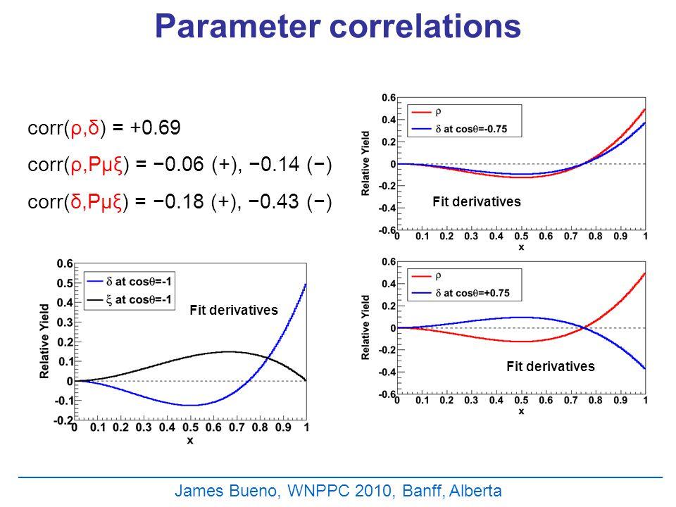 Fit derivatives Parameter correlations James Bueno, WNPPC 2010, Banff, Alberta corr(ρ,δ) = +0.69 corr(ρ,Pμξ) = −0.06 (+), −0.14 (−) corr(δ,Pμξ) = −0.18 (+), −0.43 (−)