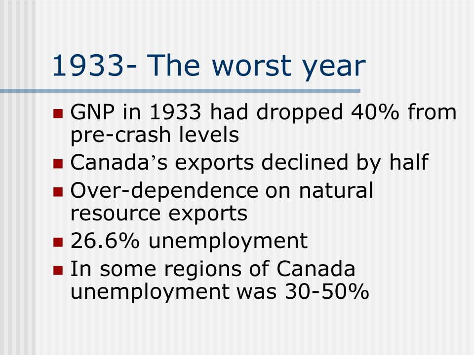 1933- The worst year GNP in 1933 had dropped 40% from pre-crash levels Canada ' s exports declined by half Over-dependence on natural resource exports 26.6% unemployment In some regions of Canada unemployment was 30-50%
