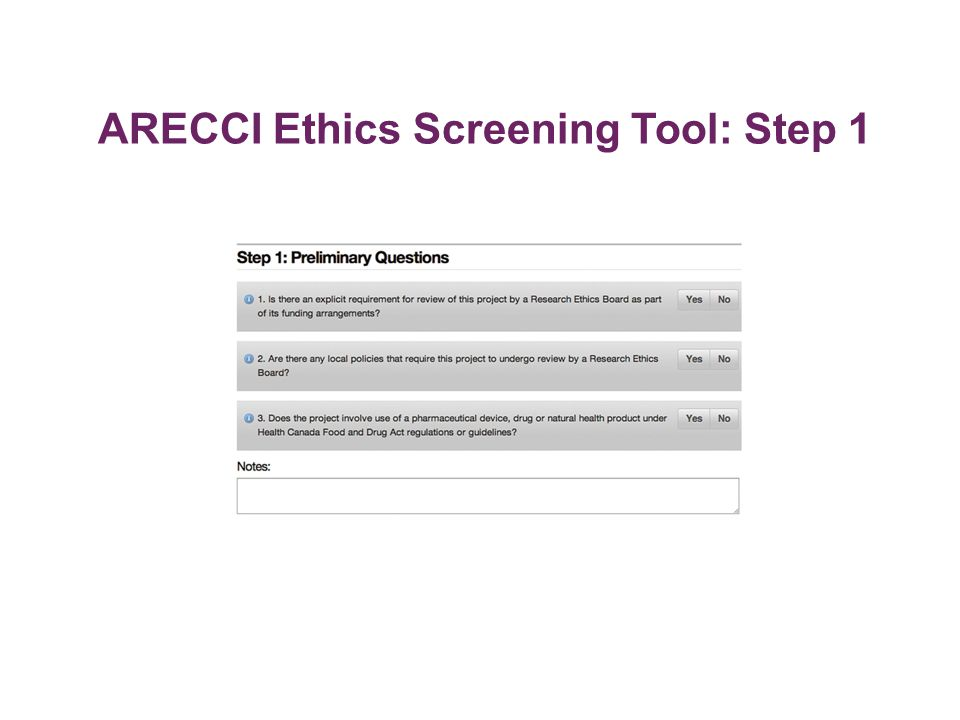 ARECCI Ethics Screening Tool: Step 1