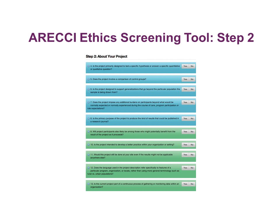 ARECCI Ethics Screening Tool: Step 2