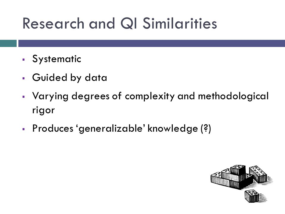 Research and QI Similarities  Systematic  Guided by data  Varying degrees of complexity and methodological rigor  Produces 'generalizable' knowledge ( )