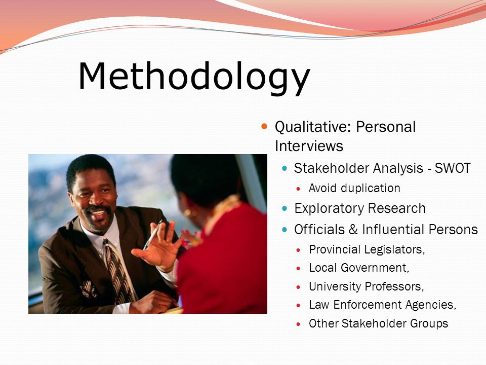 Qualitative: Personal Interviews Stakeholder Analysis - SWOT Avoid duplication Exploratory Research Officials & Influential Persons Provincial Legislators, Local Government, University Professors, Law Enforcement Agencies, Other Stakeholder Groups Methodology