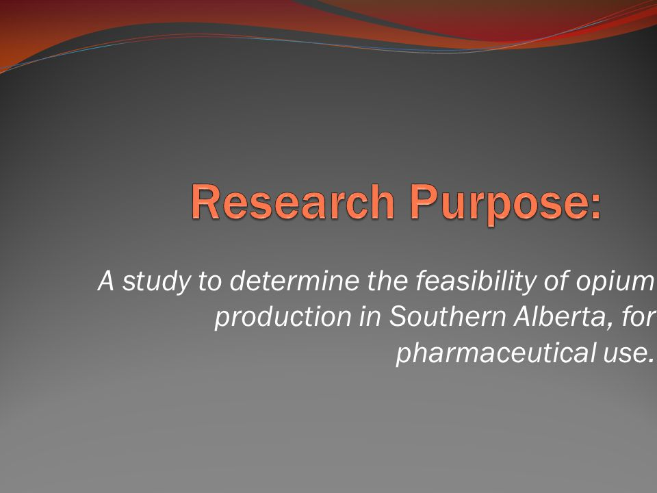 A study to determine the feasibility of opium production in Southern Alberta, for pharmaceutical use.