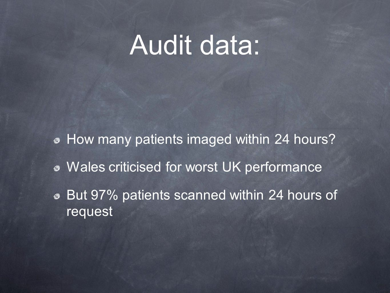 Audit data: How many patients imaged within 24 hours.