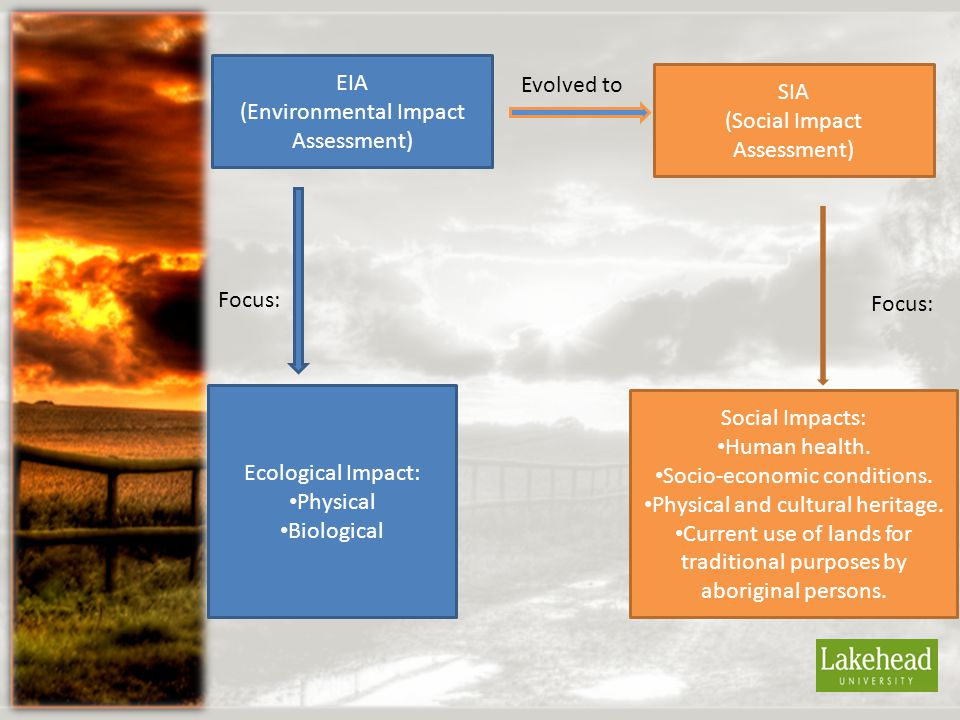 EIA (Environmental Impact Assessment) Evolved to SIA (Social Impact Assessment) Ecological Impact: Physical Biological Focus: Social Impacts: Human health.