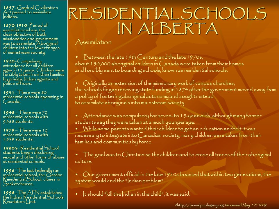RESIDENTIAL SCHOOLS IN ALBERTA 1857 - Gradual Civilization Act passed to assimilate Indians.