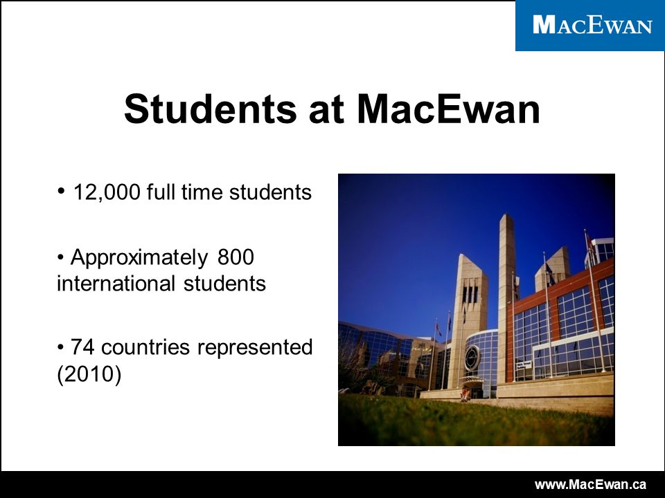 www.MacEwan.ca Services for International Students Orientation programs for new students Workshops and seminars Social events International student club ISPP