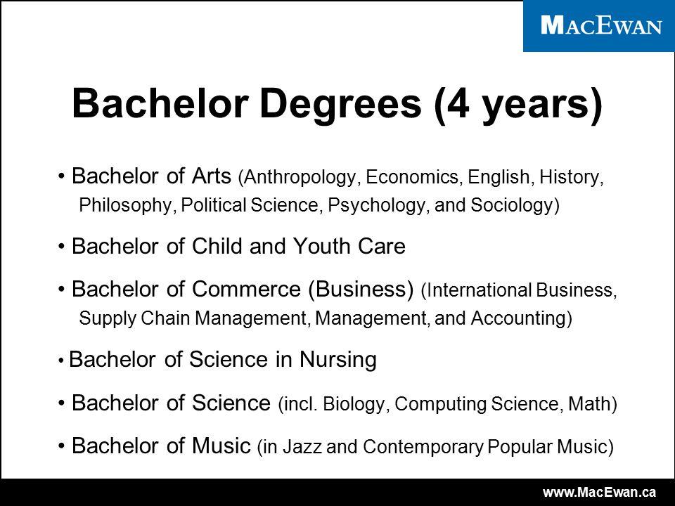 www.MacEwan.ca University Transfer Programs (1-2 years) Bachelor of Education Bachelor of Physical Education Bachelor of Science in Engineering