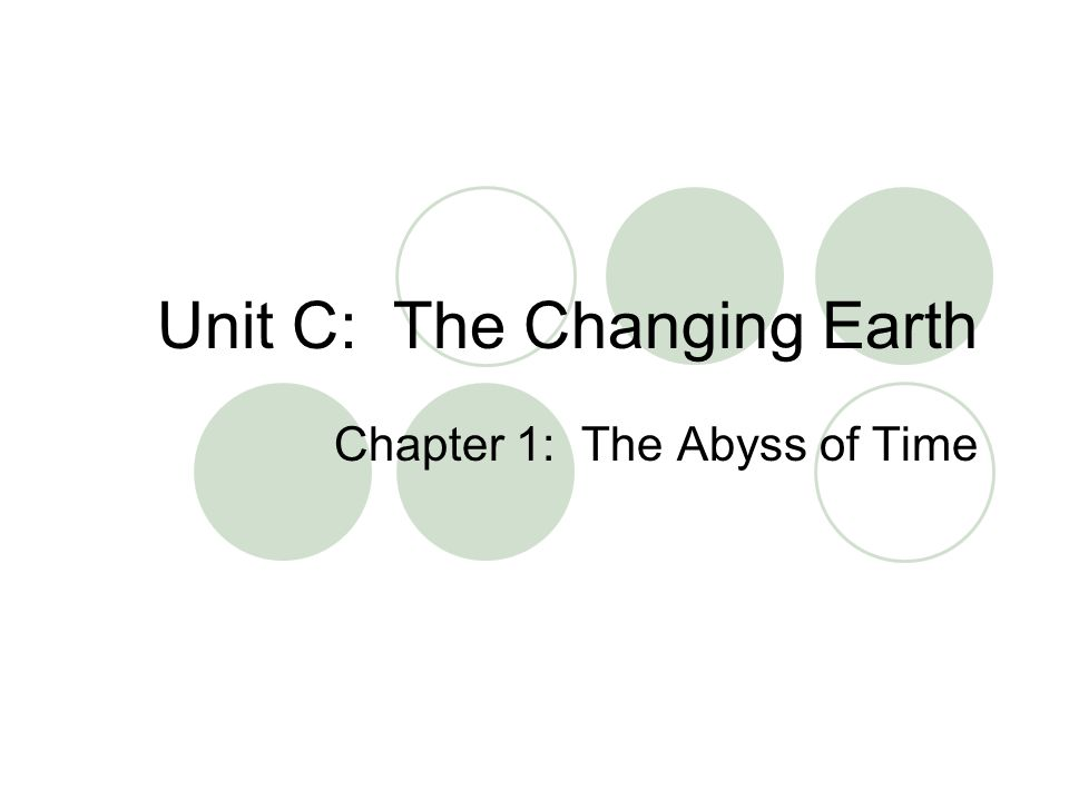 Unit C: The Changing Earth Chapter 1: The Abyss of Time