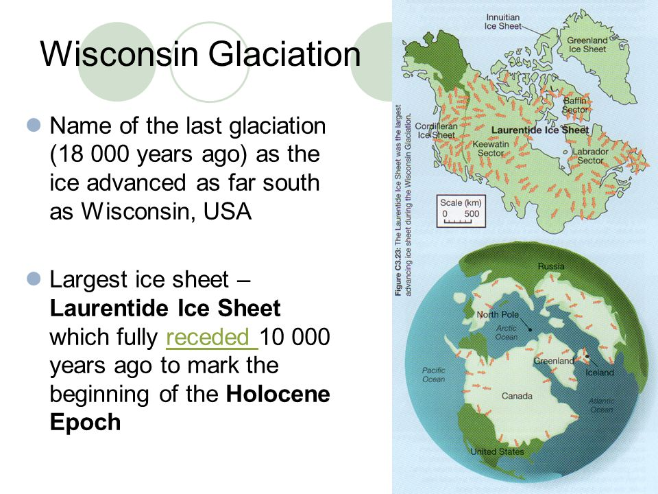 Wisconsin Glaciation Name of the last glaciation (18 000 years ago) as the ice advanced as far south as Wisconsin, USA Largest ice sheet – Laurentide