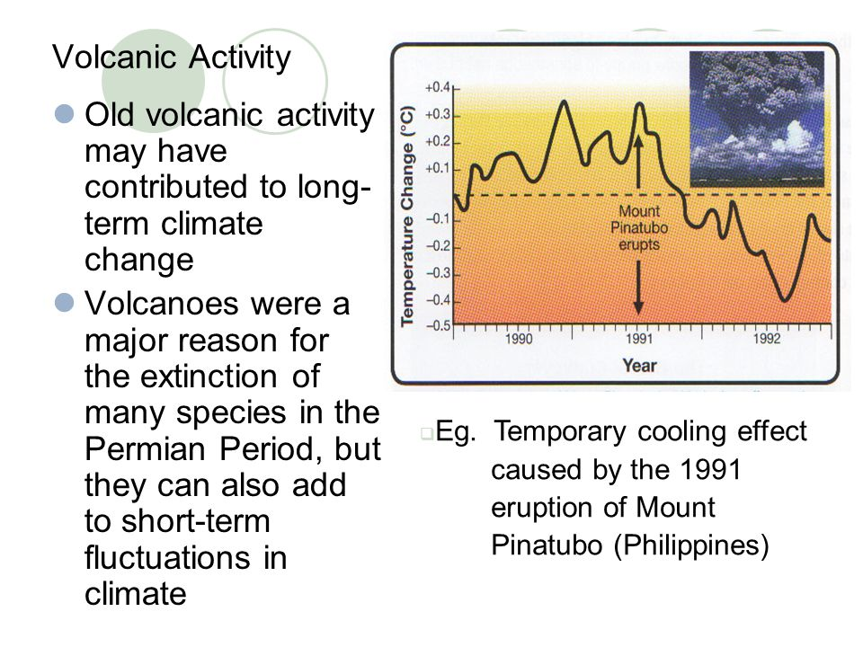Volcanic Activity Old volcanic activity may have contributed to long- term climate change Volcanoes were a major reason for the extinction of many spe