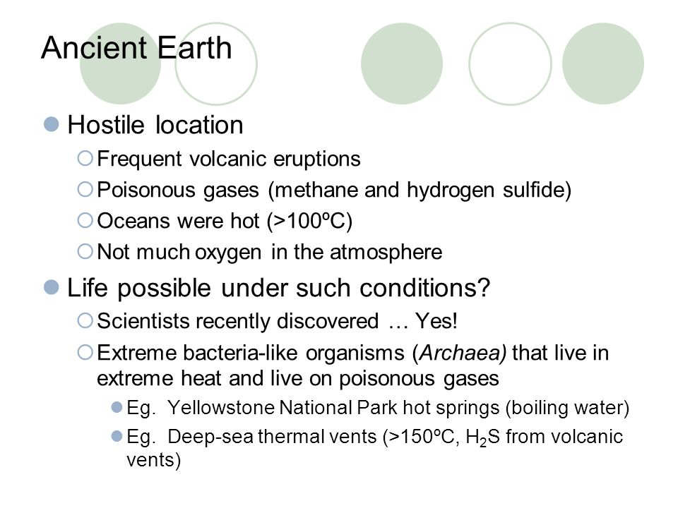 Ancient Earth Hostile location  Frequent volcanic eruptions  Poisonous gases (methane and hydrogen sulfide)  Oceans were hot (>100ºC)  Not much ox