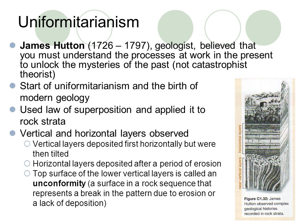 Uniformitarianism James Hutton (1726 – 1797), geologist, believed that you must understand the processes at work in the present to unlock the mysterie