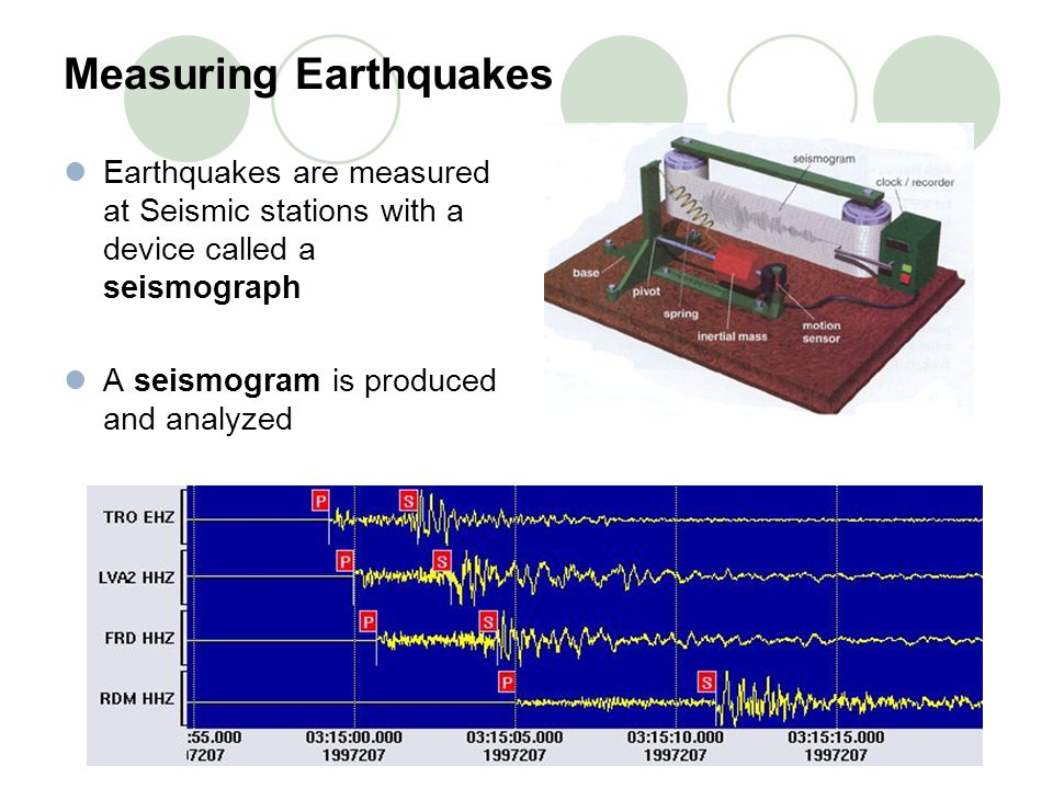 Measuring Earthquakes Earthquakes are measured at Seismic stations with a device called a seismograph A seismogram is produced and analyzed