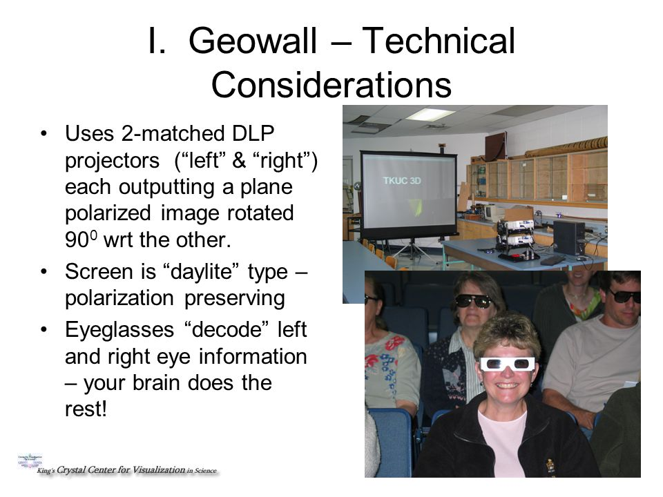 Geowall – Technical Considerations Left-channel imageRight-channel image Left channel image is projected through the left channel DLP projector and is plane- polarized as shown Right channel image is projected through the right channel DLP projector and is plane- polarized as shown