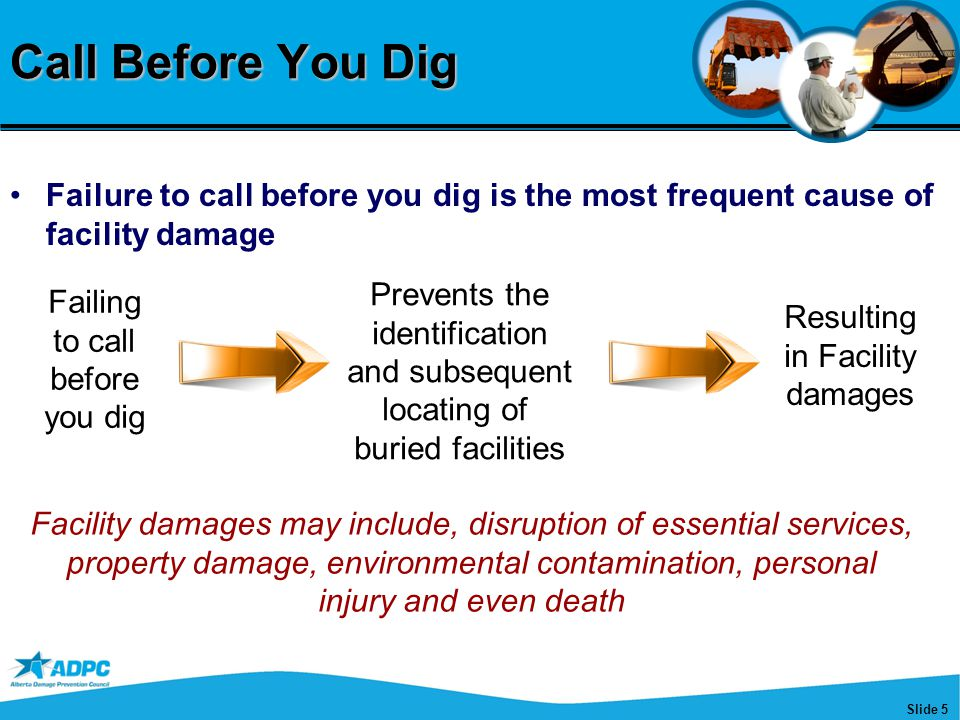 Slide 5 Call Before You Dig Failure to call before you dig is the most frequent cause of facility damage Failing to call before you dig Prevents the i