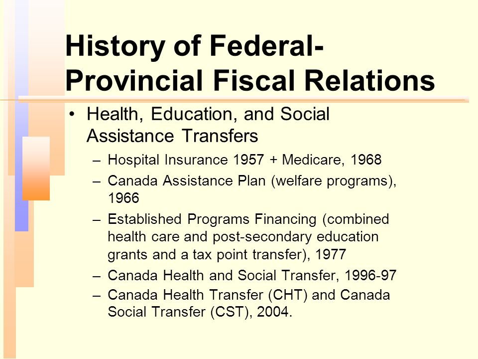 History of Federal- Provincial Fiscal Relations Health, Education, and Social Assistance Transfers –Hospital Insurance 1957 + Medicare, 1968 –Canada A