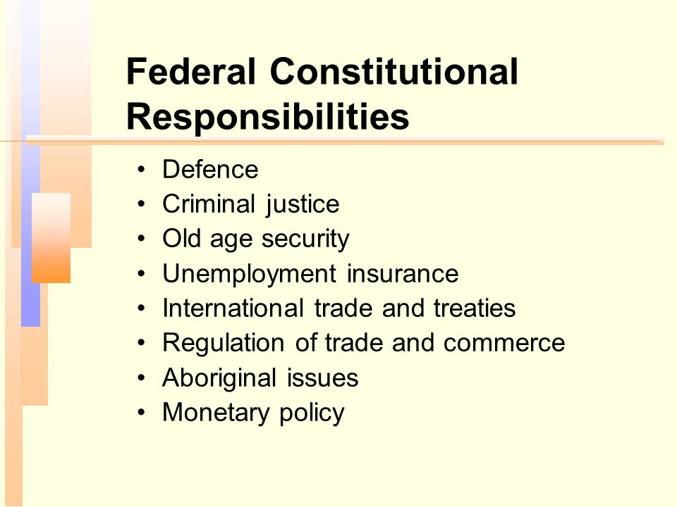 Provincial Constitutional Responsibilities Education Health Social welfare Civil law Municipal government Gambling, liquor Natural resources (oil and natural gas, mining, and forestry)