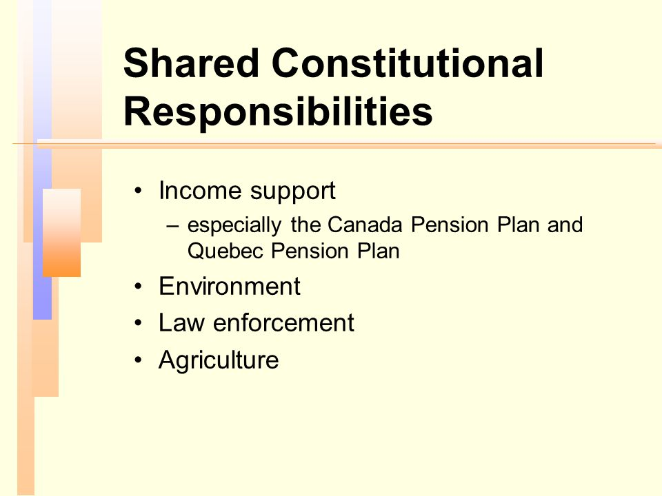 Shared Constitutional Responsibilities Income support –especially the Canada Pension Plan and Quebec Pension Plan Environment Law enforcement Agricult