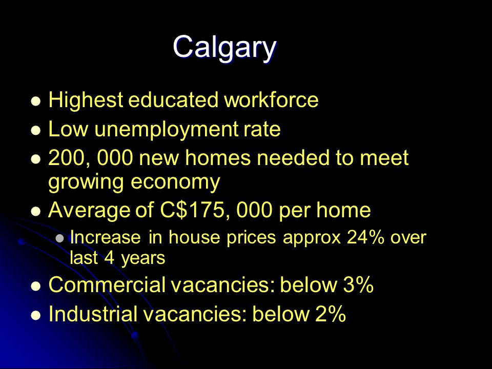 Calgary Highest educated workforce Low unemployment rate 200, 000 new homes needed to meet growing economy Average of C$175, 000 per home Increase in house prices approx 24% over last 4 years Commercial vacancies: below 3% Industrial vacancies: below 2%