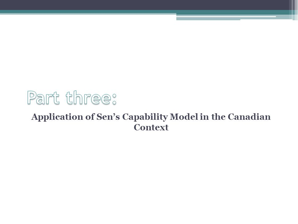 Application of Sen's Capability Model in the Canadian Context