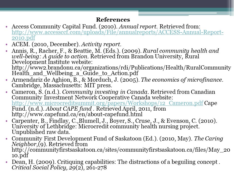 References Access Community Capital Fund. (2010).