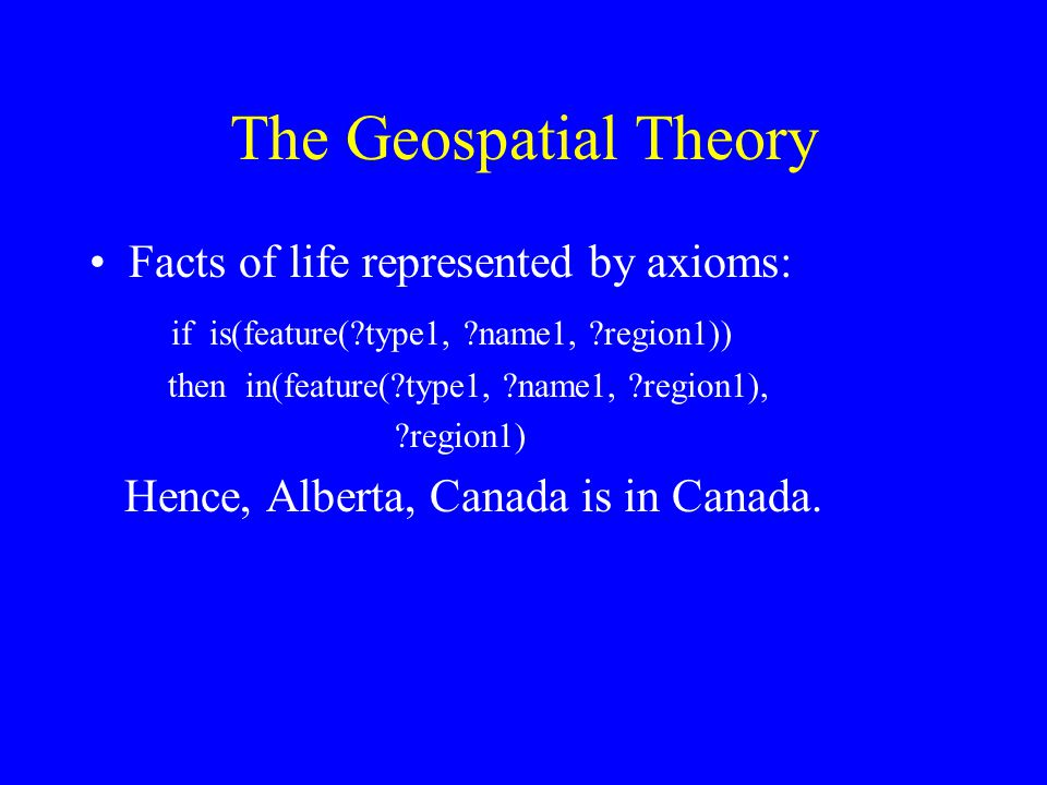 The Geospatial Theory Facts of life represented by axioms: if is(feature( type1, name1, region1)) then in(feature( type1, name1, region1), region1) Hence, Alberta, Canada is in Canada.