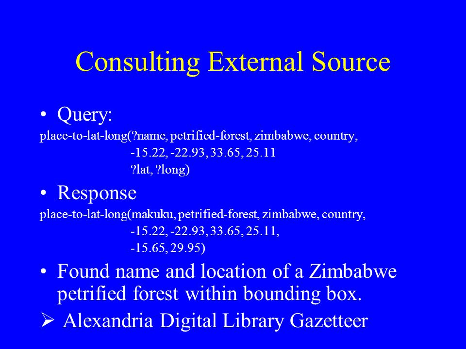 Consulting External Source Query: place-to-lat-long(?name, petrified-forest, zimbabwe, country, -15.22, -22.93, 33.65, 25.11 ?lat, ?long) Response pla