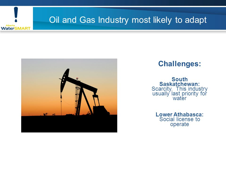 Oil and Gas Industry most likely to adapt Challenges: South Saskatchewan: Scarcity.