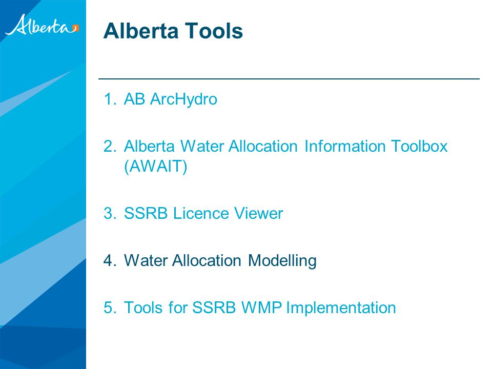 http://ssrb.environment.alberta.ca/licence_viewer.html Public SSRB Licence Viewer Required as part of the SSRB Implementation Plan If desired select a predefined Water Management Area (WMA) Display all licences spatially on the map, with the ability of selecting the certain activities such as Agriculture, Municipal, etc.