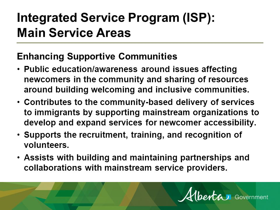 Integrated Service Program (ISP): Main Service Areas Enhancing Supportive Communities Public education/awareness around issues affecting newcomers in the community and sharing of resources around building welcoming and inclusive communities.