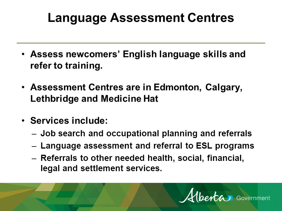 Adult ESL Learning in Alberta: LINC Language Instruction for Newcomers to Canada (LINC) –Citizenship and Immigration Canada (CIC) provides free basic English language courses to permanent residents –Full or part-time instruction at no cost to learners
