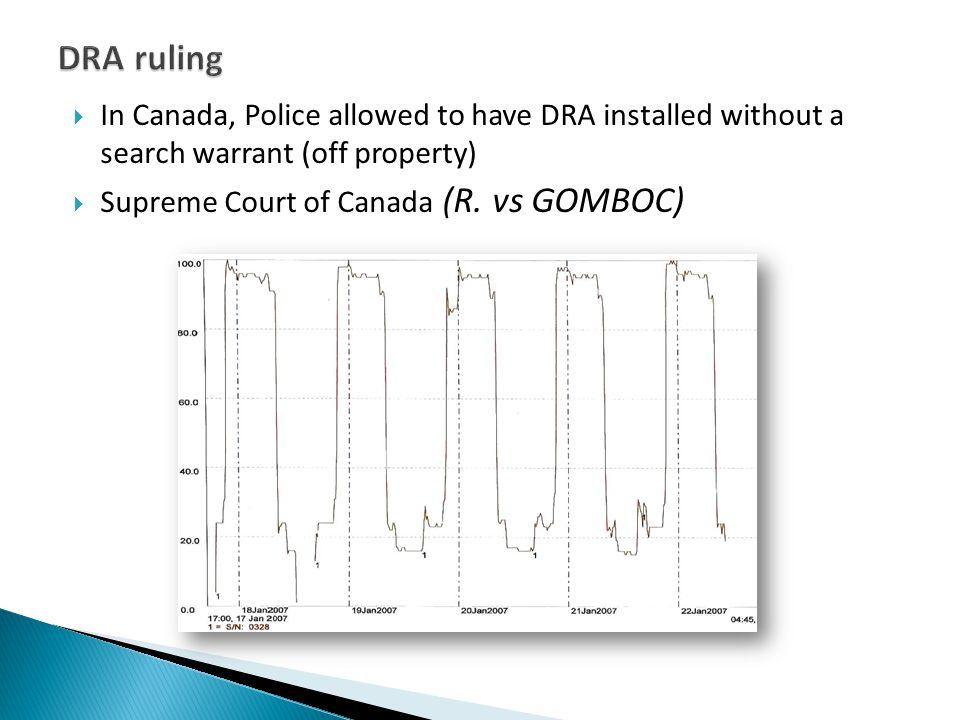  In Canada, Police allowed to have DRA installed without a search warrant (off property)  Supreme Court of Canada (R. vs GOMBOC)