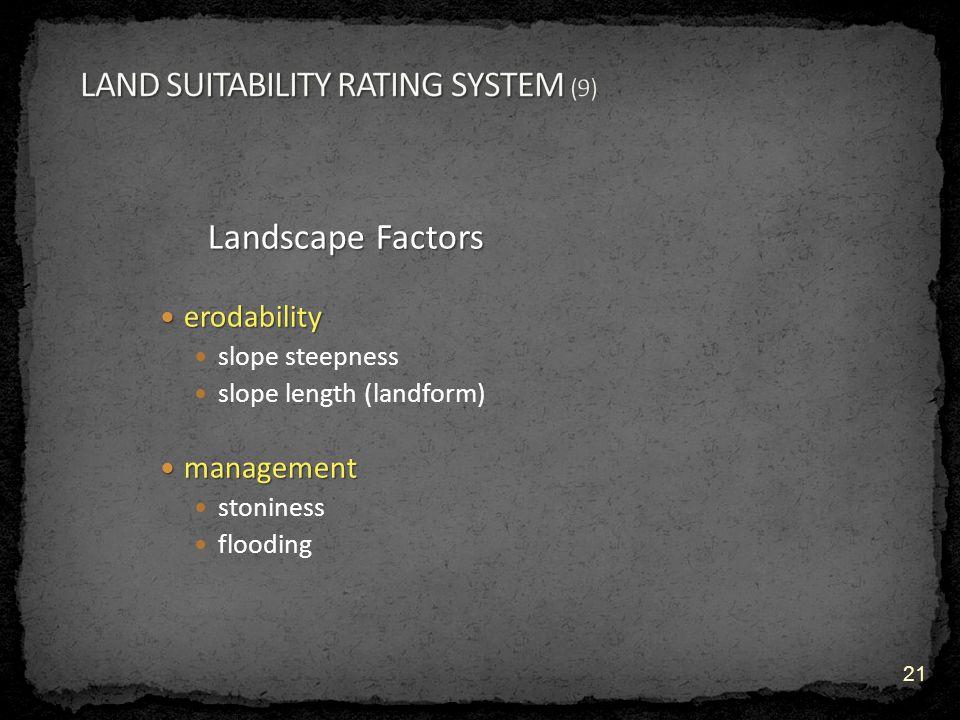 Landscape Factors erodability erodability slope steepness slope length (landform) management management stoniness flooding 21