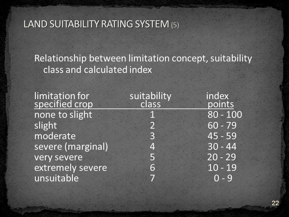 Relationship between limitation concept, suitability class and calculated index limitation for suitability index specified crop class points none to slight 180 - 100 slight 2 60 - 79 moderate 345 - 59 severe (marginal) 430 - 44 very severe5 20 - 29 extremely severe6 10 - 19 unsuitable 7 0 - 9 22