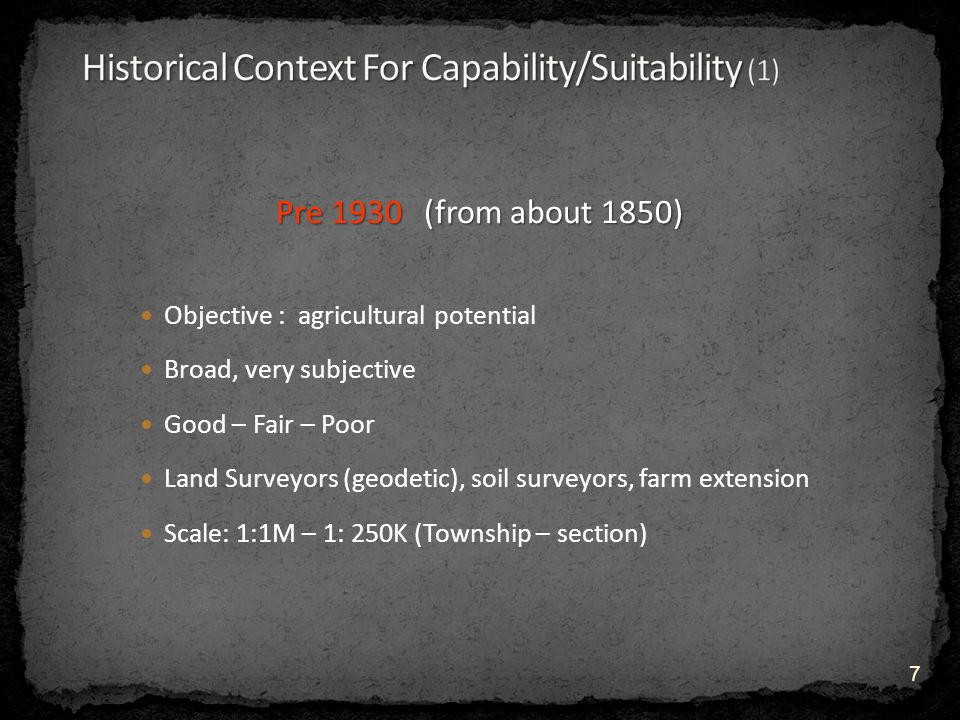 Concept issues Soil Health This is a concept – it is an assessment of how well the soil is being sustained in its ecological niche It must be interpreted and descriptive factors chosen Factors must be measurable, available and sensitive to change E.g.