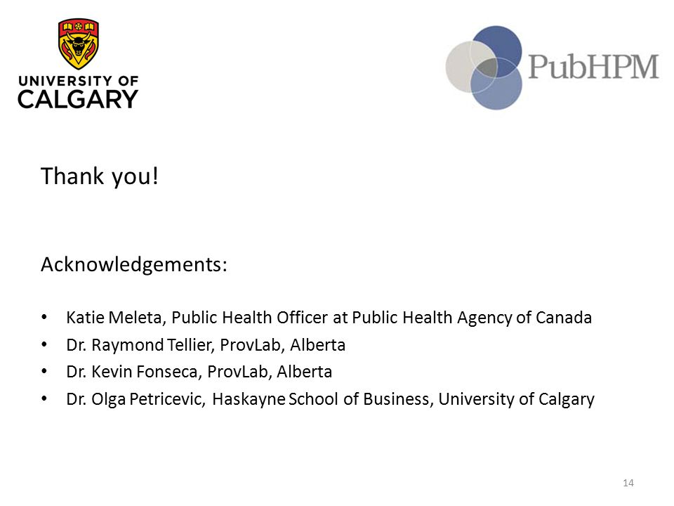Thank you! Acknowledgements: Katie Meleta, Public Health Officer at Public Health Agency of Canada Dr. Raymond Tellier, ProvLab, Alberta Dr. Kevin Fon