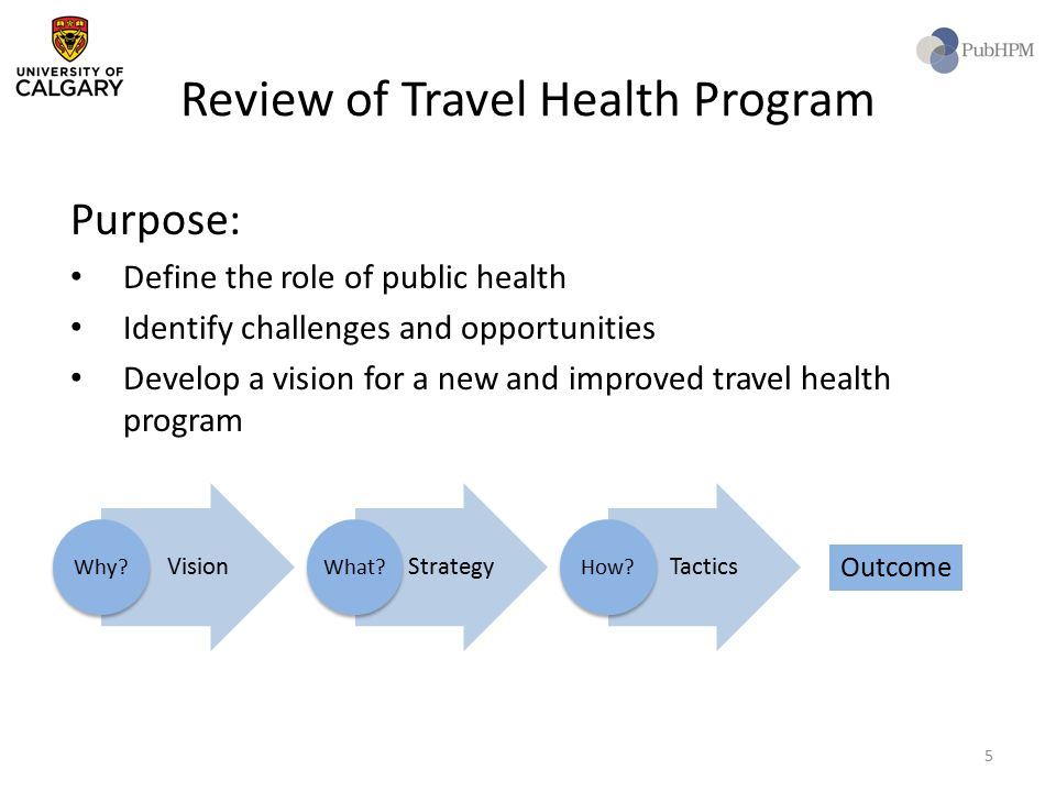 Review of Travel Health Program Purpose: Define the role of public health Identify challenges and opportunities Develop a vision for a new and improve